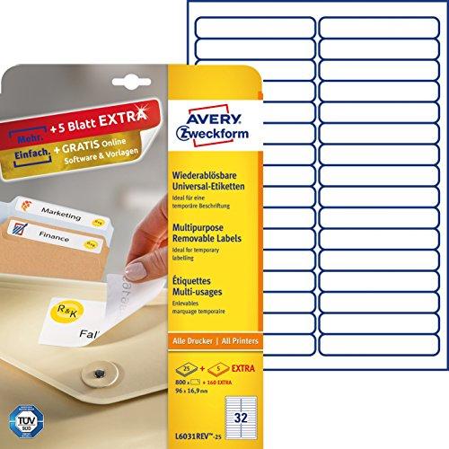 Avery Zweckform L6031REV-25 Etiketten (A4, 800 Plus 160 Universal-Etiketten extra, ablösbar, 96 x 16,9 mm) 30 Blatt, weiß (X 96)