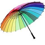 ZFCTWZ Mode - Frauen Sonnenschirm Regenbogen - Schirm mit Bunten Schirm Lange Gerade Weibliche Sonnig und regnerisch umbrella24bones,Bunte
