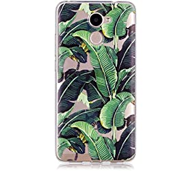 BONROY Hülle, Schutzhülle Case Silikon- Crystal Clear Ultra Dünn Durchsichtige Backcover Handyhülle TPU Case für Huawei Y7 2017/Y7 Prime (5.5 Zoll) - Bananenstaude