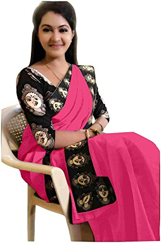 Rajeshwar Fashion Women's Cotton Saree With Blouse Piece (Mataji Border Pink_Pink)