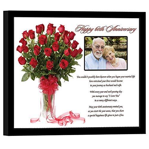Happy 60th Anniversary Poesie Geschenk-60Jahren Ehe Gedicht im 20,3x 25,4cm schwarz Rahmen-hinzufügen Foto