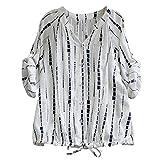 BHYDRY Frauen Casual Striped Kordelzug Schnüren Langarm Bluse Top Shirt Tee(S.Weiß)