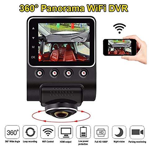 JINGBO 360 Grado panorámico WiFi Coche DVR cámara