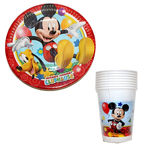 d Freunde 32 Teile Partygeschirr Becher Pappteller Donald Duck für 16 Kinder (Mickey Maus-freunde)
