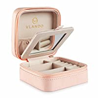Vlando Small Faux Leather Travel Jewellery Box Organizer Display Storage Case for Rings Earrings Necklace With Mirror