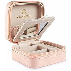 Vlando - Joyero pequeño de viaje de piel sintética. Caja organizadora de anillos, pendientes y collares, con espejo, Rosa, rosa