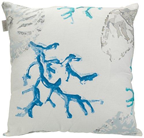 APELT Kissenhülle 4056 Farbe 10, moderner und trendiger Kissenbezug im Loft Design, hochwertige und schicke Zierkissenhülle mit Muscheln bedruckt in Weiß-Blau,  Größe 40 x 40 cm