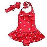 Baby Badeanzug Mädchen Einteiler Kinderbadeanzug Mädchen Badeanzug UV Schutz Punkte Schwimmanzug Bademode Rot XL:6-7 Jahre