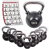 POWRX Kettlebell | 4-20 kg | gummiert | verchromter Griff | Kugelhantel | Handgewicht ideal für Fitness Kraft Training (12 kg)