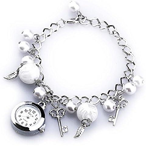 Bracciale Orologio da Polso al Quarzo Rotondo Perline Acrilico Bianco Moda