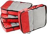 AmazonBasics Packing Cubes - Large (4-Piece Set), Red
