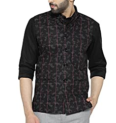 Shaftesbury London Mens Cotton Nehru Jacket (H2187--40, Black and Grey, 40)