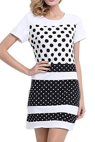 Women's Elegant Short Sleeve Scoop Neck Ploka Dots Colorblock Summer Dress White S