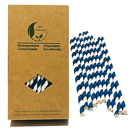 (NAVY blau gestreift Trinken Papier Trinkhalme, 100Zählen recyslable Papier Box, ägäis blau und weiß gestreift)