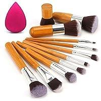 Kylie Foundation Brush Make Up Brushes, 11Pcs Natural Bamboo Professional Makeup Brushes Set Foundation Blending Brush…