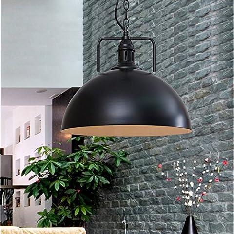 PinWei_ Lampadari d'epoca&Lampadario Sala da pranzo&Bar a sospensione Ferro battuto moderno semi-cerchio pendente (30 cm) , black