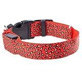 USB Hundehalsband LED Leopard Führte Kragen Blinkt Sicherheit Halsband Leuchthalsband mit USB Kabel für Haustier Hunden By Alxcio