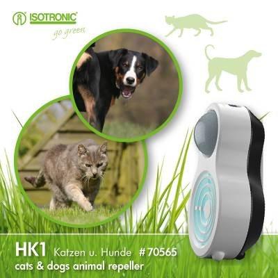 ISOTRONIC Tiervertreiber mit Bewegungsmelder gegen Katzen Hunde Hundeschreck Ultraschall Katzenschreck