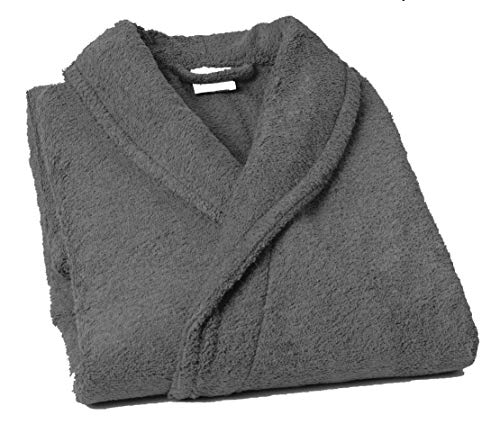 Home Basic - Albornoz con Cuello Tipo Smoking, Talla XXL, Color Gris