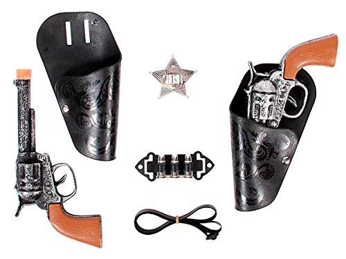 Kit cow-boy set cowboy (Alsino 8823) accessoires de déguisement en plastique et PVC pour ambiance western idée cadeau noel anniversaire garçon enfant 2 x pistolet Revolver et son holster badge étoile
