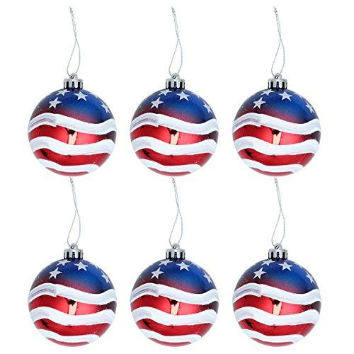 kugel-amerikanischer patriotischer Ball Juli 4. Dekorations-Ball für Unabhängigkeitstag 4. von Juli-Staatsangehörig-Tag, 6 Satz ()