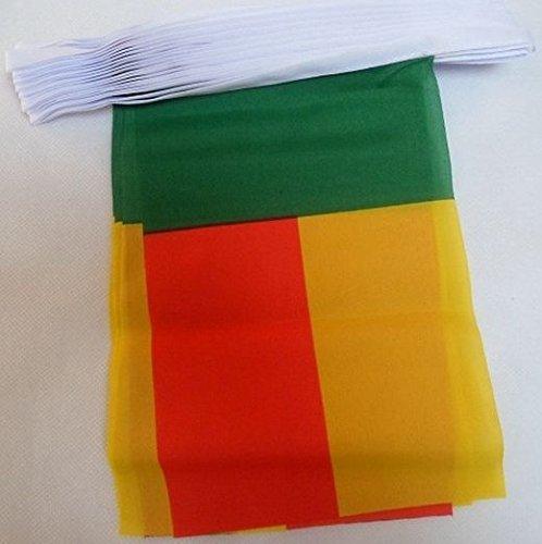 GUIRNALDA 12 metros 20 BANDERAS de BENÍN 45x30cm - BANDERA BENINÉS 30 x 45 cm - BANDERINES - AZ FLAG