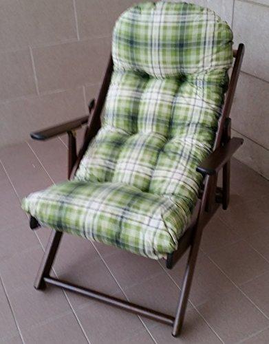 Fauteuil chaise relax chaise longue en bois pliable Coussin Super rembourré H 100 cm séjour cuisine salon canapé noyer