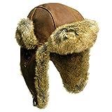 Kakadu Traders Flieger-Mütze Wintermütze Inlander aus Leder mit Kunstfell- Herren Damen Größe M Tobacco