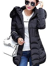 SaiDeng Slim Fit Espesar Pelaje Collar Abrigo Parka Con Capucha Manga Larga Para Mujer