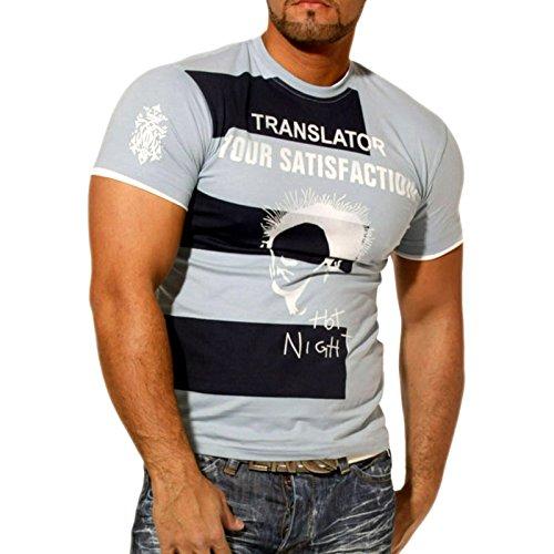 Herren T-Shirt Kurzarm Rundhals Printed Hot Night RN953 Blau