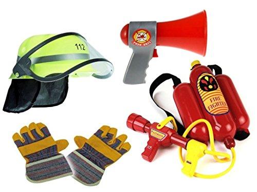 KSS Feuerwehr Mega Set 4-teilig ! Helm + Handschuhe + Wasserspritze + Megaphon mit Funktion Karneval