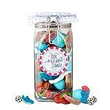 Papas ganzer Stolz, ein großes Bügelglas mit 850 Gramm tollem Süßigkeiten-Mix für den besten Papa der Welt, tolles Vatertagsgeschenk