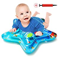 Wemk Baby Water Mat Tummy Time Water Mat with Inflator, Star Shape Inflatable Water Play Mat Toy for Baby Kids