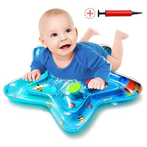 Wemk Wassermatte Baby mit Inflator Sternform Baby Spielmatte Aufblasbare Wasser Spielmatte Tummy Time Mat Geschenk Spielzeug für Baby Kinder