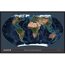 COLUMBUS Weltkarte Satellit TING-kompatibel: 181 x 115 cm, Spezialpapier, 5-farbig, Vorderseite: glanzfolienkaschiert - Satellitenperspektive, ... Wissenswertes, Nationalhymnen,