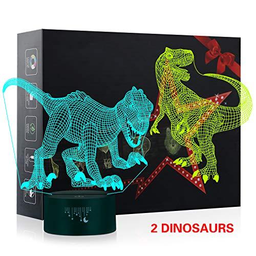 3D Illusion Nachtlampe, 7 Farben ändern Schreibtischlampen Kinder Stimmungslicht, LED Lampe fürs Wohnzimmer (T-rex and velociraptor4)
