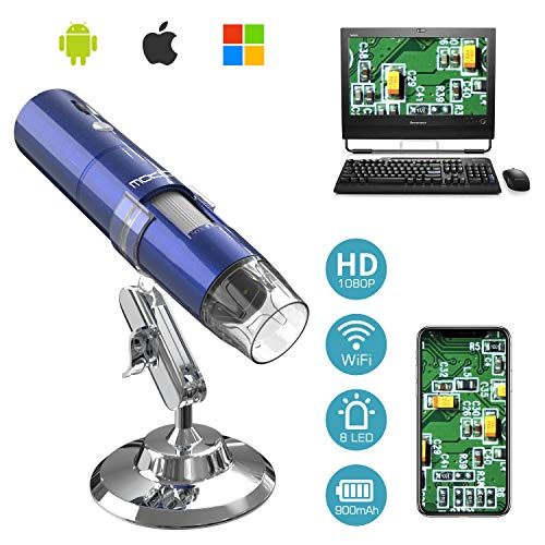 MoKo WiFi USB Digital Mikroskop, HD 2 MP Microscope, 1000 x Vergrößerung Mini Kinder Kamera Wireless Endoskop mit 8 LEDs, Metallständer für iPhone/iPad/Windows/Android/iOS, Blau