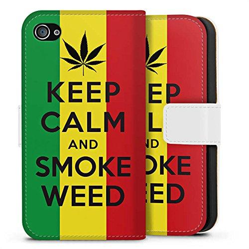 Apple iPhone X Silikon Hülle Case Schutzhülle Keep calm and smoke weed Sprüche Statement Sideflip Tasche weiß