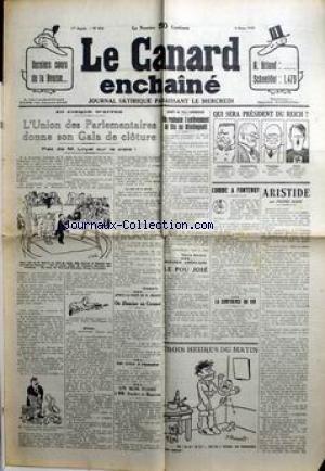 CANARD ENCHAINE (LE) [No 819] du 09/03/1932 - DERNIERS COUTS DE LA BOURSE A. BRIAND - SCHNEIDER - 1475 - L'UNION DES PARLEMENTAIRES DONNE SON GALA DE CLOTURE - M. LOYAL - QUI SERA PRESIDENT DU REICH ? - COMME A FONTENOY.