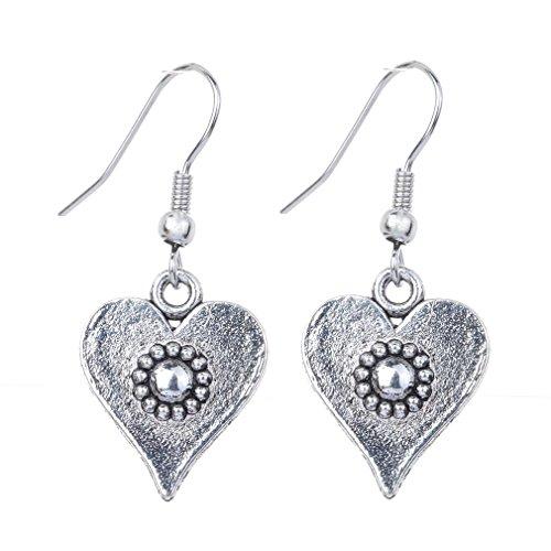 YAZILIND Tibetan Silver Plated Heart Shaped Hook Dangle Earrings Jewelry for Women