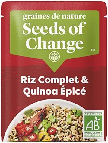 SEEDS OF CHANGE Riz Complet & Quinoa Epicé Certifié Bio Cuisson 2 Min Micro-Ondable 240 g