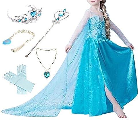 Canberries Mädchen Prinzessin Schneeflocke Kleid Kostüme, #01 Kleid und Zubehör, Gr, 104 (Herstellergröße- 110cm)