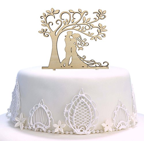 Decoración para tarta de boda, diseño de árbol de silueta de novia y novio, madera rústica (5,7 pulgadas)