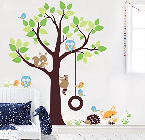 MYVINILO–Adesivo Bambini–Into the Woods/Blu chiaro, verde pastello, verde chiaro, marrone, Marr