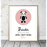 Kinderposter Geburtsanzeige Sleepy Panda Altrosa - Geburtsdruck mit Wunschname u. individuellen Daten f. Mädchen - personalisierte Geschenkidee zur Geburt, Taufe, Geburtstag, Wandbild - ungerahmt