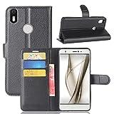 Guran Funda de Cuero PU Para BQ Aquaris X / X Pro Smartphone Función de Soporte con Ranura para Tarjetas Flip Case Cover Caso-negro