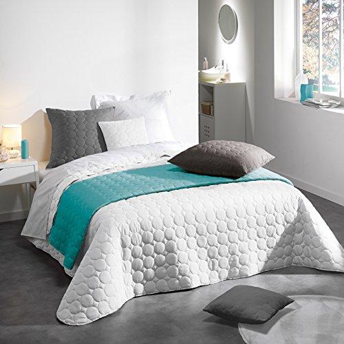 Douceur d'Intérieur Couvre-Lit Mat Microfibre/Polyester Uni Candy Blanc 220 x 240 x 240 cm