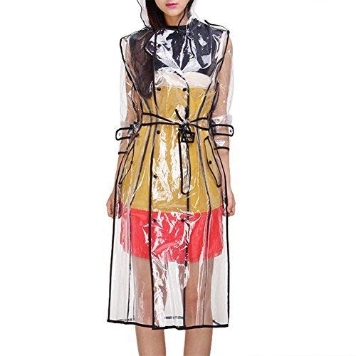 Broadroot Damen Regenmantel transparent Wasserdicht mit Kapuze Knielang Colorful Edge, Schwarz