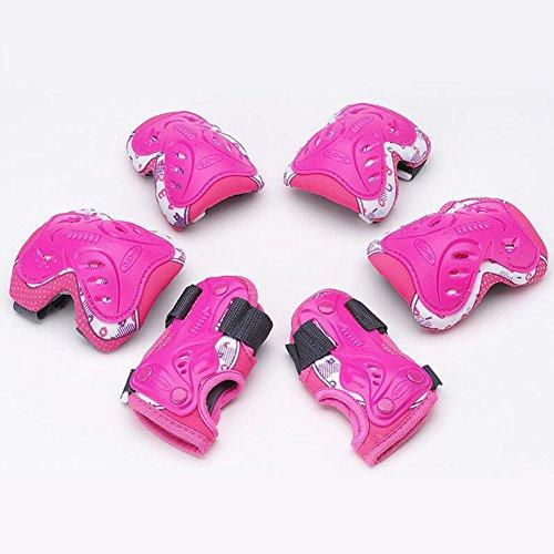 WX xin 6 In 1 Schutzausrüstung Knie Schutzbogen Verstellbar Armbinden Schutz Kind Sicherheit Rad BMX (Farbe : Pink, größe : - Gel Räder Skateboard