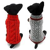 Confezione da 2dolcevita a maglia, classici per cane, gatto, animale domestico, maglione, abbigliamento classico, rosso e grigio